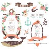 Collezioni nautiche di nozze del mare royalty illustrazione gratis