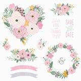 Collezioni rosa del cuore del fiore illustrazione vettoriale