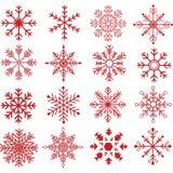 Collezioni rosse della siluetta dei fiocchi di neve illustrazione di stock
