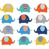 Collezioni sveglie variopinte dell'elefante illustrazione vettoriale