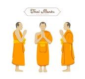 Collezioni tailandesi di saluti dei monaci illustrazione vettoriale