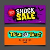 Collezioni variopinte di progettazione delle insegne di vendita felice di Halloween illustrazione di stock