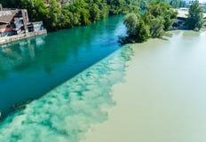 Colliding Rivers in Geneva Stock Photo