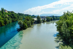 Colliding Rivers in Geneva Stock Images