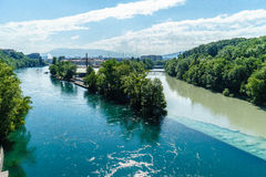 Colliding Rivers in Geneva Stock Image