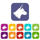 Collie dog icons set Royalty Free Stock Image