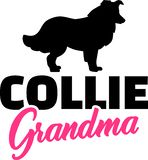 Collie Grandma met silhouet royalty-vrije illustratie