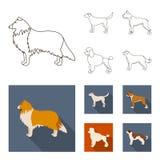 Collie labrador, boxare, pudel Symboler för samling för hundavel fastställda i översikten, illustration för materiel för symbol f vektor illustrationer