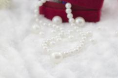 Collier blanc de perle Photo stock