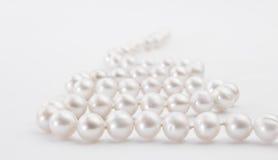 Collier blanc de perle sur le fond blanc Images stock