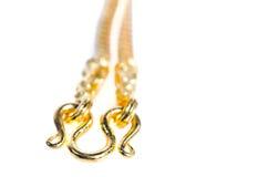 Collier 96 d'or catégorie thaïlandaise d'or de 5 pour cent avec l'isolat de crochet d'or Images stock