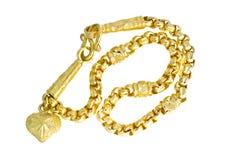 Collier 96 d'or catégorie thaïlandaise d'or de 5 pour cent avec l'isolat de crochet d'or Image stock