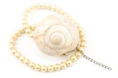 Collier de perle avec le seashell spiralé photo libre de droits