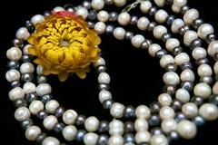 Collier de perle d'isolement sur le fond noir Photos stock