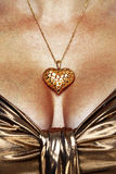 Collier et robe s'usants d'or de femme Photo stock
