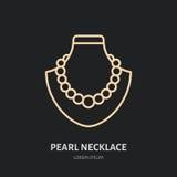 Colliers de perle sur l'illustration factice Ligne plate icône, logo de bijoux de magasin de bijoux Jewels le signe d'accessoires illustration libre de droits