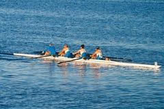 Colligiate Rowing Teams Practice On the Pacific. Los Angeles, USA - November 5, 2011: Women's colligiate rowing team practices the sport on the waterways of Stock Photo