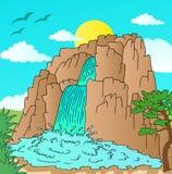 Collina con il paesaggio delle cascate Illustrazione Vettoriale