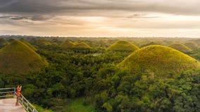 Collina del cioccolato nell'isola di Bohol, filippina fotografie stock libere da diritti