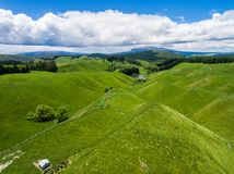 Collina dell'allevamento di pecore di vista aerea, il Distretto di Rotorua, Nuova Zelanda Immagini Stock