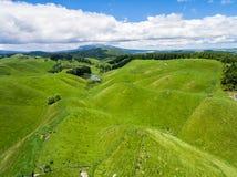Collina dell'allevamento di pecore di vista aerea, il Distretto di Rotorua, Nuova Zelanda fotografia stock