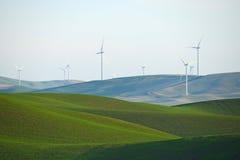 Collina dell'azienda agricola del grano con il mulino di vento immagine stock libera da diritti