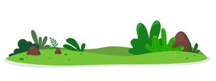 Collina di verdure con i cespugli e le pietre Illustrazione di vettore nello stile piano del fumetto Isolato su fondo bianco illustrazione vettoriale