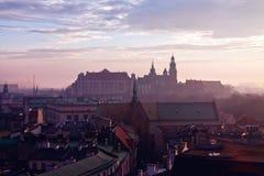 Collina di Wawel con il castello a Cracovia Fotografie Stock