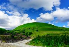 Collina e cielo blu dell'erba verde Fotografia Stock