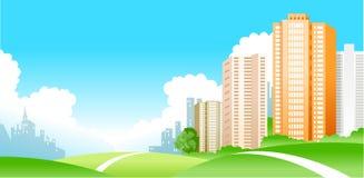 Collina e la città illustrazione di stock