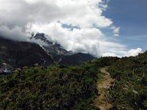 Collina verde con Misty Himalayan Peak Fotografie Stock