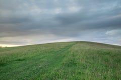 Colline avec l'herbe verte sur le fond du ciel et des nuages noirs Photographie stock libre de droits