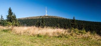 Colline de Praded en montagnes de Jeseniky avec le ciel clair Images libres de droits