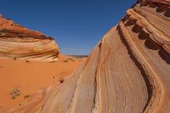Colline del coyote - vicine su di formazione dell'aletta dell'arenaria Fotografia Stock