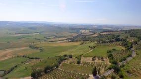 Colline della campagna della Toscana, vista aerea sbalorditiva in primavera Immagini Stock Libere da Diritti