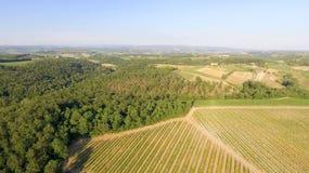 Colline della campagna della Toscana, vista aerea sbalorditiva in primavera Fotografia Stock Libera da Diritti