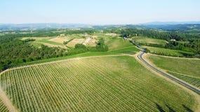 Colline della campagna della Toscana, vista aerea sbalorditiva in primavera Fotografia Stock