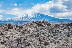 Colline di lava sul fondo del vulcano di Etna Immagine Stock Libera da Diritti