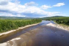Colline e fiume Fotografie Stock Libere da Diritti