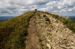 Colline nel parco nazionale di Bieszczady in Polonia Fotografie Stock