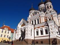 Colline orthodoxe russe de château de Toompea de cathédrale de Tallinn Estonie Image stock