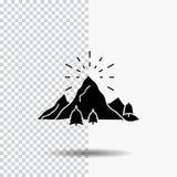colline, paysage, nature, montagne, icône de Glyph de feux d'artifice sur le fond transparent Ic?ne noire illustration libre de droits