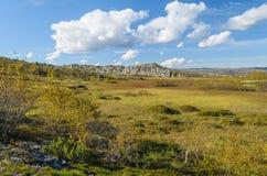 Colline, tundra, rocce e cielo con le nuvole bianche Fotografie Stock Libere da Diritti