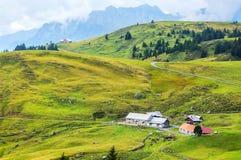 Colline verdi in alpi, Svizzera Immagini Stock