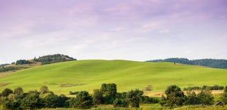 Colline verdi di bellezza in Pieniny vicino a Cerveny Klastor immagine stock libera da diritti