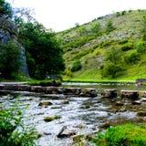 Colline verdi, pietre facenti un passo vicino al Na di punta del distretto tuffato fiume Fotografie Stock