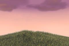 Collines de champ d'herbe et ciel nuageux image stock