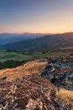 Collines du paysage de coucher du soleil de Plaisance Images stock