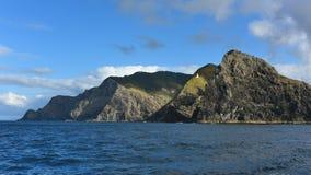 Collines et falaises au cap Brett, baie des ?les, Nouvelle-Z?lande images libres de droits