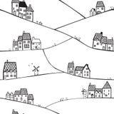 Collines et maisons illustration de vecteur